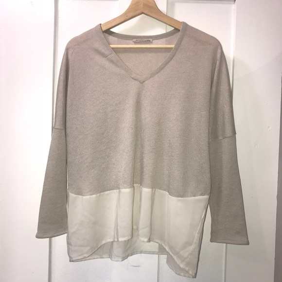 1701c055 Zara Tops | Gray Cream Color Block Top M | Poshmark